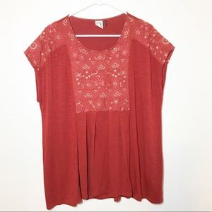 Anthropologie | Akemi + Kin embroidered red top XL